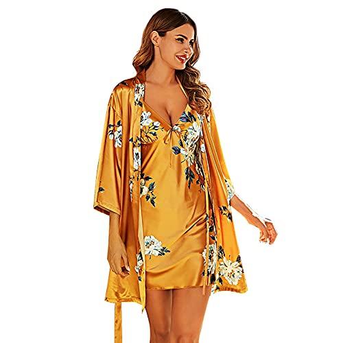 BBZZ Señoras de Seda de Seda de Seda de Seda de Seda de Seda, con Huella Hermosa y Sexy Profundo, diseño, túnica y Falda de Eslinga (Conjunto de 2 Piezas),Amarillo,L