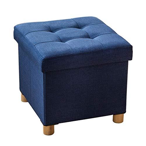 Poufs Repose-Pieds pliants Pieds en Bois en Lin Tabouret de siège Max 150kg, 38 x 38 x 35 cm (Couleur : Bleu)