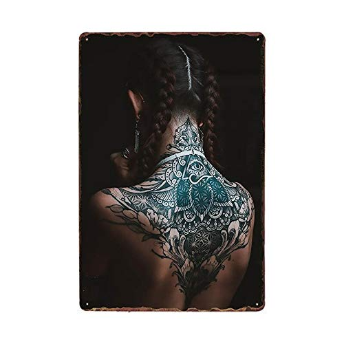 Tin plate poster Tattoo Girl Metal Tin Sign Plaque Tattoo Studio Shop Decoration Wall Art For Room Pub Bar Party Vintage Metal Painting Poster 20x30cm 981320