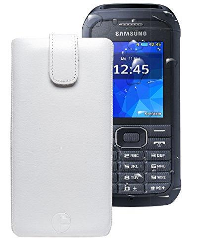 Favory ® Etui Tasche für / Samsung Xcover 550 (SM-B550H) / Leder Handytasche Ledertasche Schutzhülle Hülle Hülle *Lasche mit Rückzugfunktion* weiss