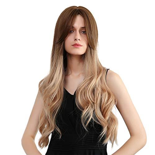 Generic 28 '' Perruque Longue Ondulés Cheveux Lisses avec Wigs Cap Jolies Cosplay Femmes