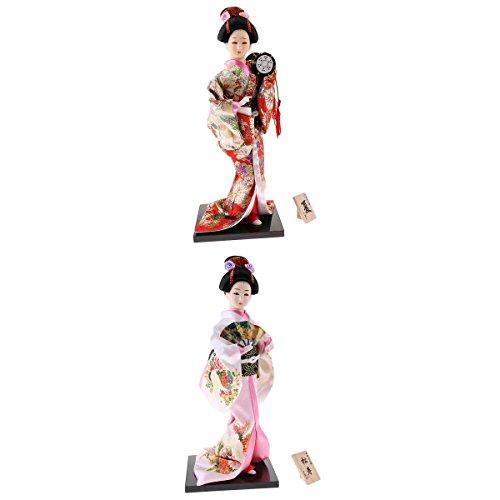 MagiDeal 2 Pcs Japanese Geisha Kimono Doll Ornaments Crafts Home Decoration