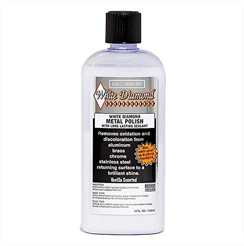 White Diamond Metal Polish with Long Lasting Sealant, 12 fl oz is a cleaner and polisher all in one. Removes oxidation and discoloration from aluminum, brass, chrome and many other metals