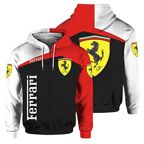 Mens Zipper Cardigan 3D Digital Ferrari Print Hoodie Rest Sweatshirt 1L