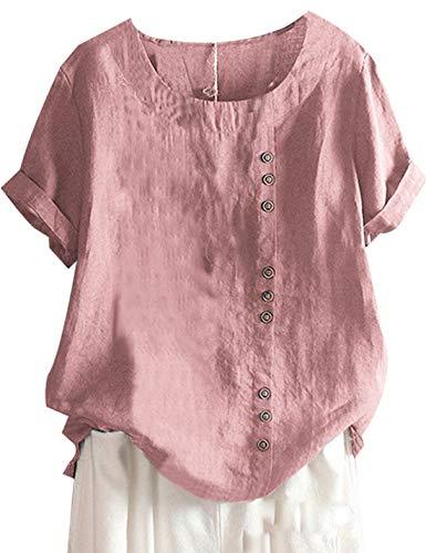 Yeokou Women Cotton Linen Crew Neck Short Sleeve Basic Tunic Tee Shirts Tops Blouse(Pink-XL)