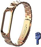 WANFEI per Mi Band 5 Cinturino in Acciaio Inossidabile Braccialetto di Ricambio per Xiaomi Mi Band 5 Smart Miband 5 Braccialetto (Metallo Argento,Activity Tracker Non Incluso) (Rose Gold)