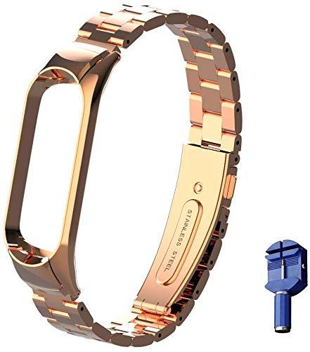 WANFEI Für Xiaomi Mi Band 5 Armband Metall, Ersatzband Wasserdicht Edelstahl Strap Armband Zubehör für Xiaomi Mi Band 5 miband 5 (Fitness Tracker Nicht Enthalten) (Roségold)