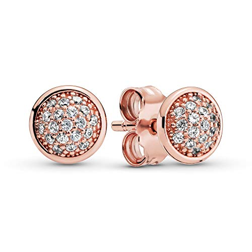 PANDORA - Pavé Stud Earrings in PANDORA Rose with Clear Cubic Zirconia