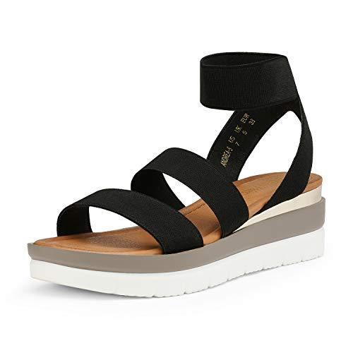 DREAM PAIRS Women's Black Open Toe Ankle Strap Platform Wedge Sandals Elastic Strap Summer Sandals Size 8.5 M US Andrea-5