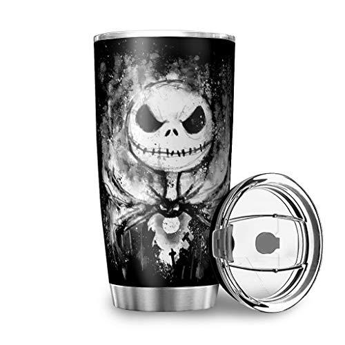 Dessionop Botella de agua de Halloween con diseño de Jack de terror, taza de 20 onzas, antigoteo, tapa de color blanco, 600 ml