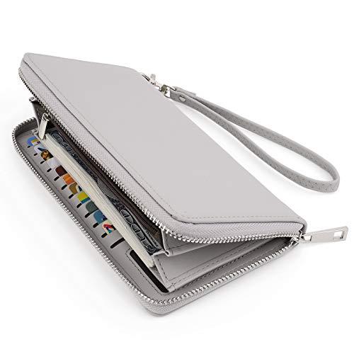 UTO Women Wallet Large Leather Zip Around Card Holder Checkbook Passport Organizer Ladies Travel Clutch with Wristlet Grey