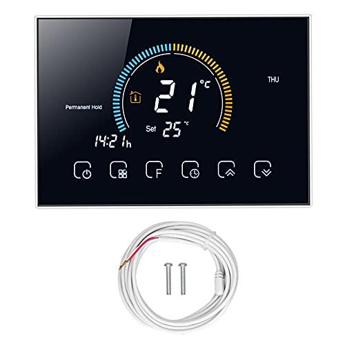 Interruptor de Termostato Inteligente para Electrodomésticos, Controlador de Temperatura de Pantalla Táctil LCD Programable con Luz de Fondo para Caldera de Gas de Agua(Negro)