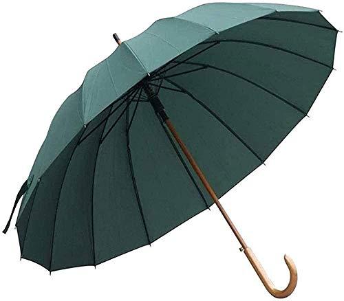 Ombrello portatile leggero Ombrello antivento Gazebo semi-automatico Tarpaulin grande ombrello pieghevole doppio strato antivento in legno massello ombrello di legno superficie maniglia lunga 115 cm (
