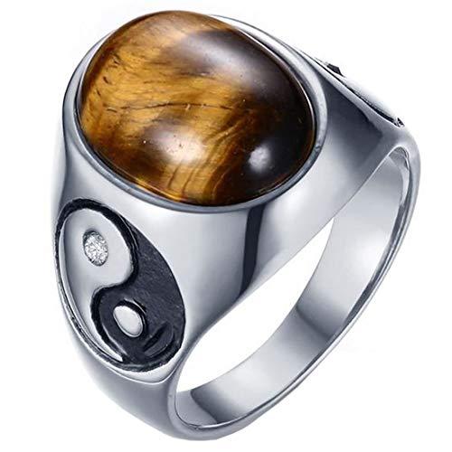 (A) 指輪 リング タイガーアイ陰陽ステンレスリング(RMT407)サイズ/23号 天然石 パワーストーン 印台 メンズ親指 大きい 大きめ アクセサリー