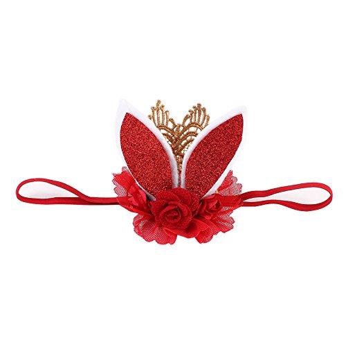 Bunny Bandeau, Funny Lapin Headwear Tissu Créoles d'oreille de lapin en dentelle Bandeau Cheveux Femme/enfant Fleur