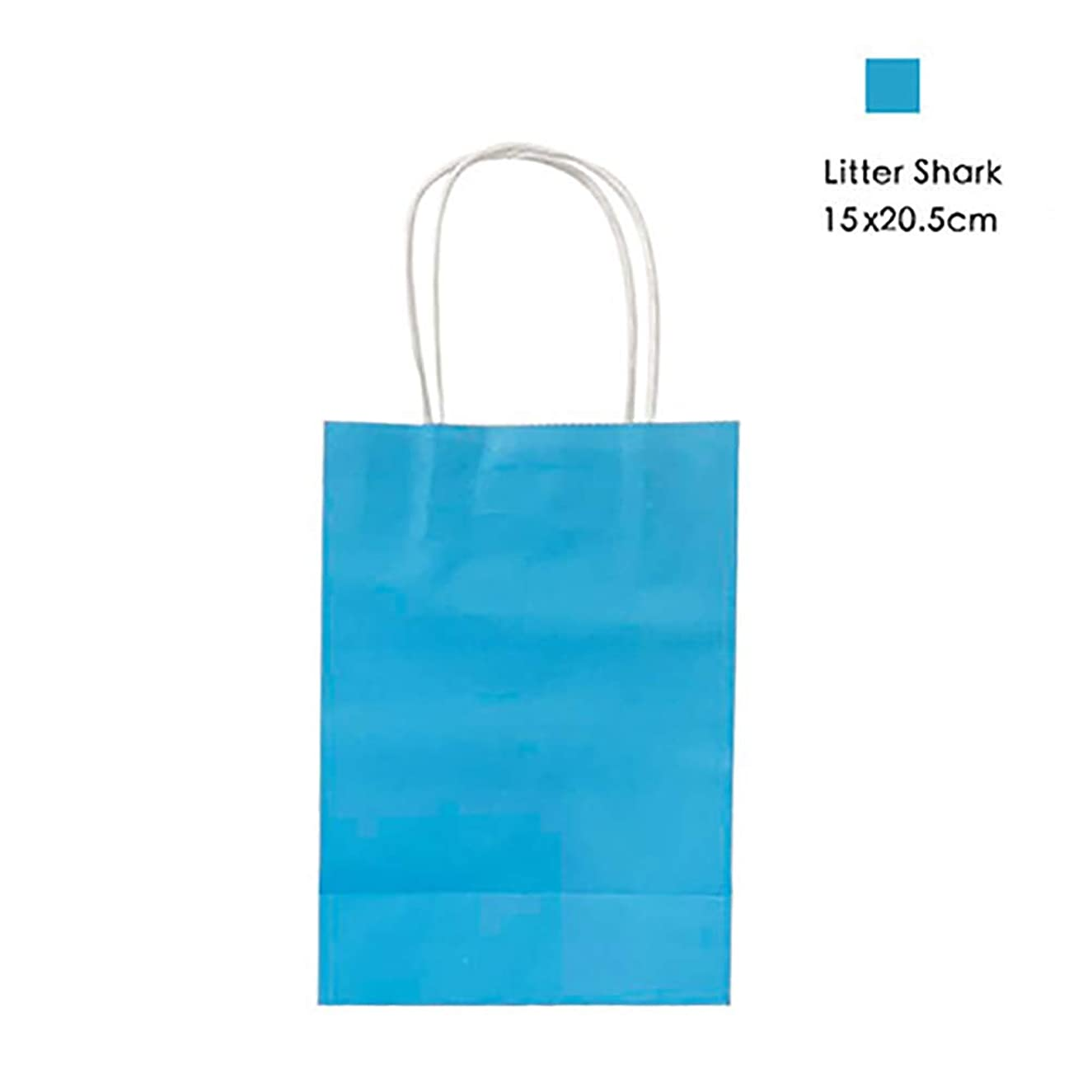 12 Pieces Party Favor Bags Gift Bags Kraft Paper Bags with Handles for Birthday, Tea Party, Wedding, Baby Shower and Party Celebrations - Small, Blue