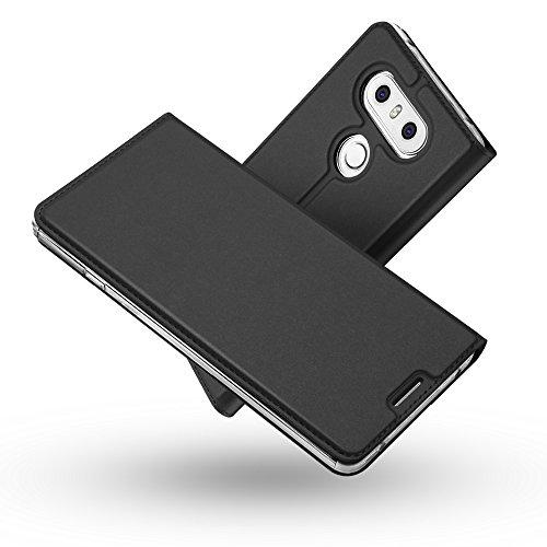 Radoo LG G6 Lederhülle, Premium PU Leder Handyhülle Brieftasche-Stil Magnetisch Folio Flip Klapphülle Etui Brieftasche Hülle [Karte Halterung] Schutzhülle Tasche Case Cover für LG G6 (Schwarz grau)