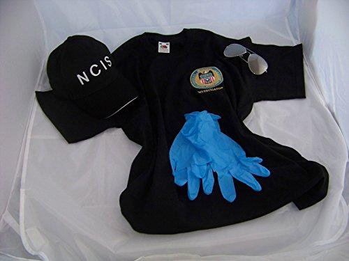 Navy CIS Cap + Logo T-Shirt M + Brille + Handschuhe , NCIS , Kostüm , Fasching , Verkleidung