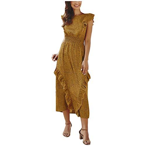 Briskorry Vestido de verano para mujer, sexy, moderno, bohemio, estampado floral, vintage, sin mangas, largo, elegante, para playa, tiempo libre, maxivestido largo