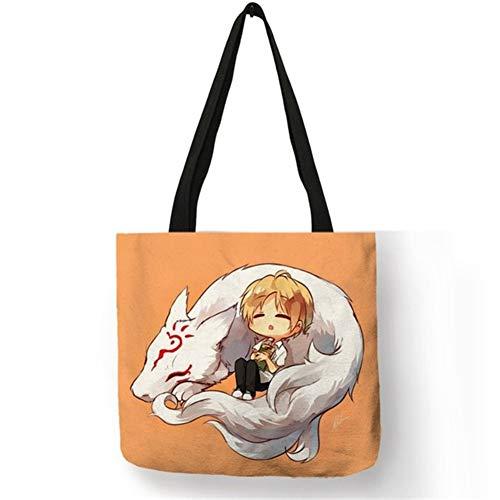 Brandless Leinentasche B06133 japanische Anime-Serie Natsume Print-Beutel for Frauen 2019 Cartoon-Katze-Muster-Schulter-Beutel-Schule-Buch-Taschen (Color : 007)
