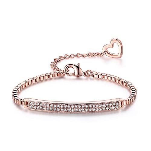 Pulsera para mujer, cadena de caja cúbica, color oro rosa,joyería, regalo de Navidad, 1