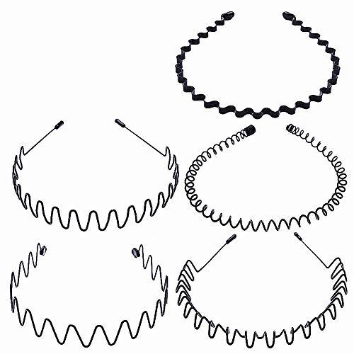 Metalen Haarband 5 Stks Zwarte Golf Hoofdband Haarband Accessoires Unisex Haar Hoop voor Mannen Vrouwen