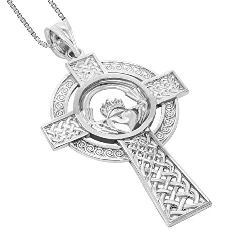 Honolulu Jewelry Company Sterling Silver Claddagh Celtic Cross Pendant with 18' Box Chain