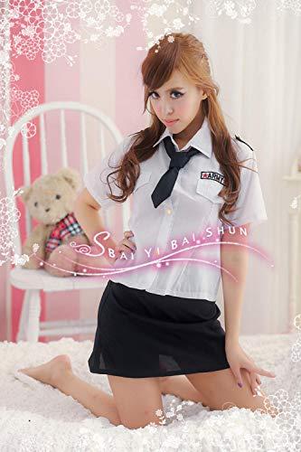 MEN.CLOTHING-LEE Damen-Reizwäsche Nachtwäsche & Bademäntel für Damen Spiel Uniform Polizistin Stewardess Uniform Weiß Bühnenkostüm Cosplay Uniform 2085-Weiß