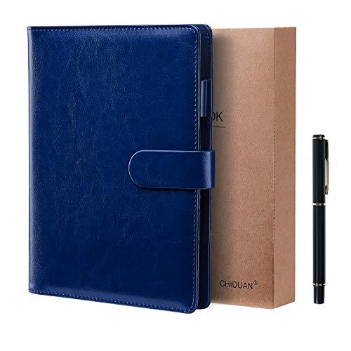 A5 Libreta de Cuero, CHIDUAN Cuaderno de Negocios Recargable, Notebook de Reuniones, Rayas/Clásico Forrado con Bolsillo y Soporte para Bolígrafo, 100 hojas de papel 100gsm (A5 azul)