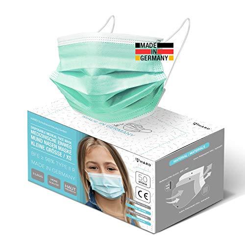 HARD 50x Kinder Medizinischer Mundschutz, Made in Germany, TYP IIR OP-Maske, CE zertifiziert EN14683 99,78% BFE 3-lagig, schützende Mund-Nasen-Bedeckung, Einweg-Gesichtsmasken - Grün