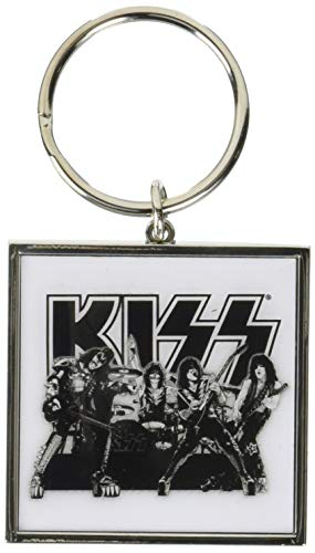 KISS Band Picture Black White Graphite Logo Metal Keychain Keyring Fan Official