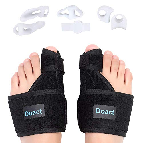 DOACT Bunion Correctors Day and Night Splint Kit, Hallux Valgus Orthopedic Toe Straightener Corrector with 6pcs Soft Gel Toe Separators in Shoes, for Men and Women Pain Relief L