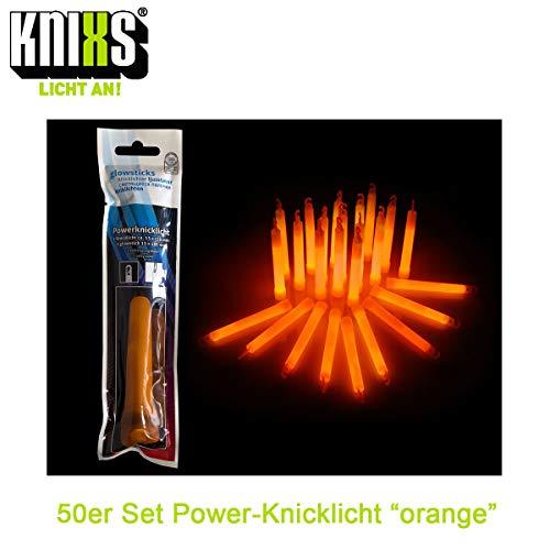 KNIXS - 50x Power Knicklichter, seit 15 Jahren in Profiqualität, deutsche Testnote: 1,4/150 x 15 mm - Leuchtstäbe - Wild Orange Leuchtend - für Party, Festival, Outdoor oder Notlicht