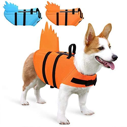 Chaleco salvavidas para perro con aleta y asa de rescate para perros pequeños, medianos, grandes, naranja, M