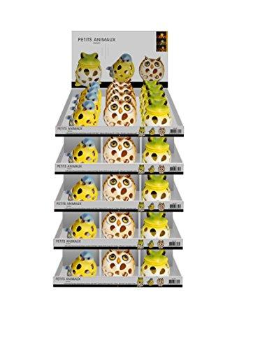 Galix 1336 Lot de 3 Petits animaux solaires - 3 modèles, Polyrésine, 10 x 10 x 12cm (Grenouille) 11 x 10 x 12cm (Hibou) 15 x 10 x 11cm (Oisillon)