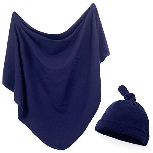 Owlowla Newborn Swaddle and Headband Set Jersey Cotton Swaddle Hat Set Receiving Blanket for Baby Boy Girl(Navy)