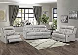 Homelegance 3-Piece Manual Reclining Sofa Set, Silver Gray