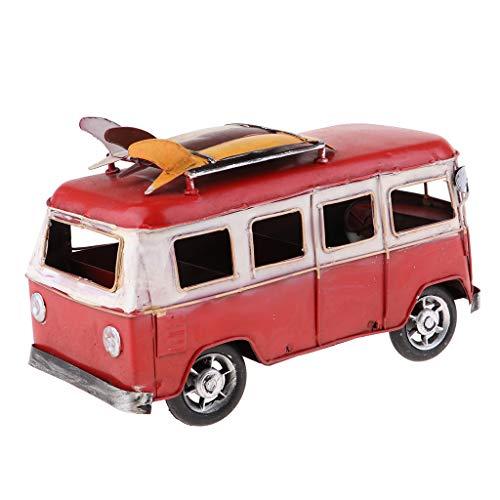 lahomia Vehículos para Niños Modelo de Autobús de Playa para Niños Adultos Coleccionables O Decoración del Hogar - Rojo