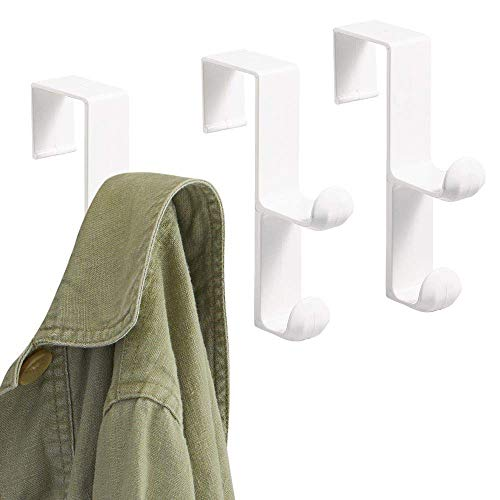 "iDesign BPA-Free Plastic Over-The-Door Double Storage Hooks - 1"" x 4.5"" x 3"", White (Pack of 3)"