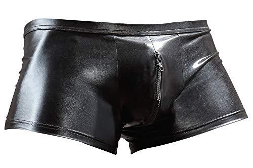 Orion Herren Pants - sexy Boxershorts mit Reißverschluss, Unterwäsche für Männer, glänzender Wetlook, schwarz (L)