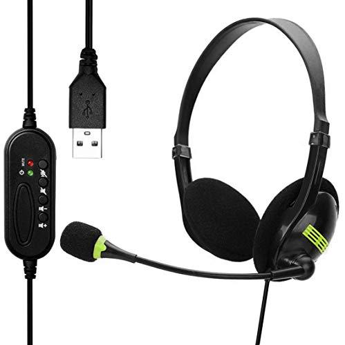 USB Headset, PC Headset mit Mikrofon Noise Cancelling & Lautstärkeregler, Stereo PC Kopfhörer für Laptop Business Skype UC Lync SoftPhone Call Center Office Webinar, Lautstärkeregler, Klar Chat