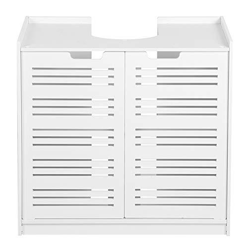 Mueble para baño bajo lavabo armario armario bajo lavabo mueble para el baño, armario bajo lavabo blanco con doble puerta, 60 x 30 x 60 cm