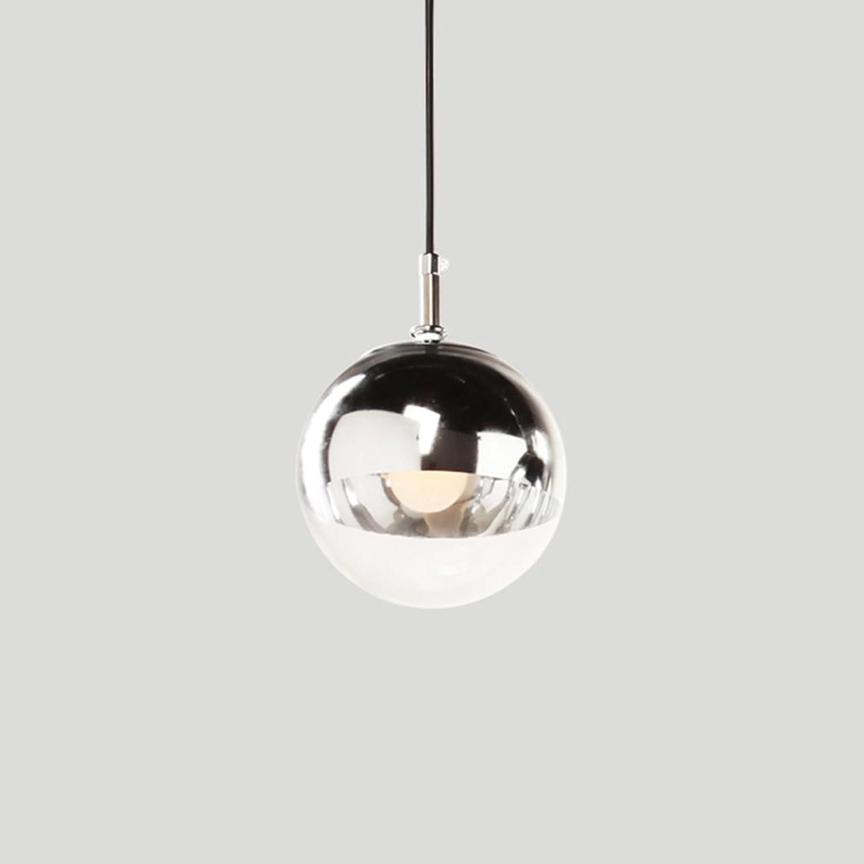 Modeen Reflektiert Transparente Galvanik Ball Pendelleuchte Leuchten Chrome Spiegel Ball Hngeleuchte Kronleuchter für Esszimmer Küche Arbeitszimmer Büro, Silber (Größe   Diameter 25cm)