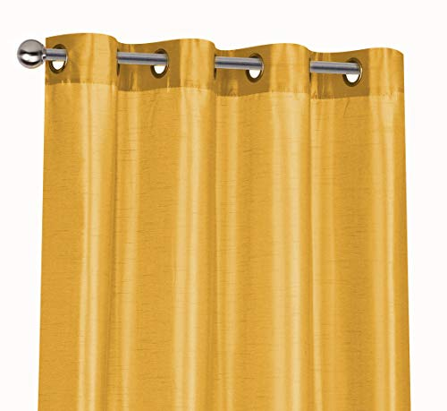 Regal Home Collections 2 Pack Semi Sheer Faux Silk Grommet Curtains, Assorted Colors, (Gold)