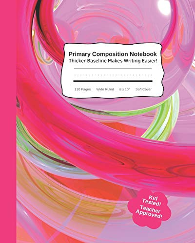 """Primary Composition Notebook - Thicker Baseline Makes Writing Easier: Cute Kids Practice Tablet Improves Handwriting & Builds Confidence With Visual ... Wide Ruled 8 x 10"""" Soft Cover Pink Swirl"""