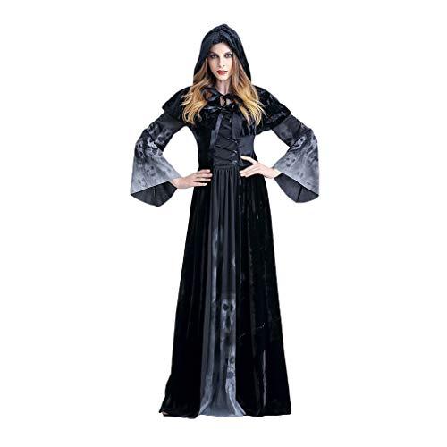 SXF-YU Cosplay Halloween Kostümparty Erwachsene Frauen Skeleton Jumpsuit Kostüm Vampir-Braut Weiblicher Geist,Black-168~172 cm