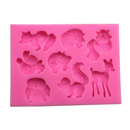 CAOLATOR.Fondant Silikonform Tiere Schokoladenform Silikon Eiswürfel Süßigkeiten Silikonformen Gießform Pralinen Backform-Igel, Hirsch, Eule, Vogel, Schwein, Fuchs