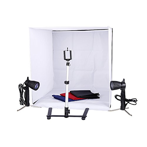 YUJISO Photo Studio Tent 60 X 60 Cm Portable Foldable Shooting Tent Tabletop Photography Lighting Box with 2 Led Lights, Adjustable Camera Tripod, Phone Holder, 4 Color Backdrops