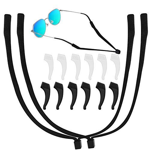 12 PCS Silicone Glasses Ear Hooks Anti-slip Holder Temple Tips Sleeve Retainer for Glasses Sunglasses, 2 PCS Eyeglass Straps Adjustable Eyewear Retainer for Men Women Kids