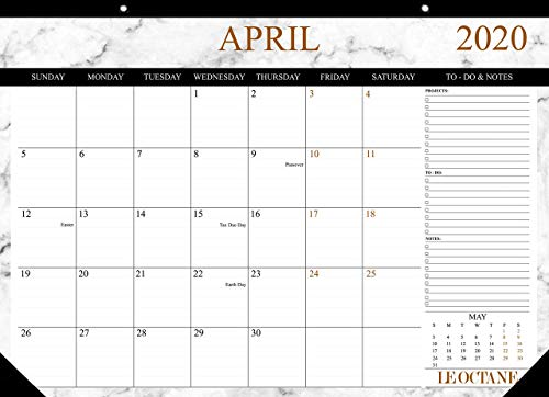 """Desk Calendar 2019-2020, Large Monthly Pages 17"""" x 12"""" Wall Calendar Hanging Daily Planner, Runs from Now Till April 2020, Calander Planner 2019-2020,Premium Quality"""